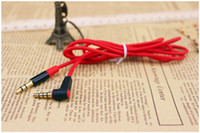 Wholesale 3 mm Male to Male L Plug Extension Cable Car AUX Audio Red Cable