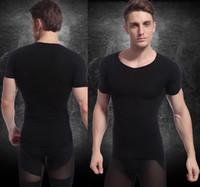 Men Bodysuit Shapers Hot Men's abdomen Slimming Short-Sleeved Shirt Body Shaper M L Black Nylon Spandex Free Shipping