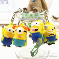Wholesale 12pcs cartoon D Despicable Me Minion Action Figure Keychain Keyring Key Ring children gift CARD Package