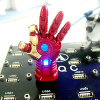 Wholesale unique MARVEL Avengers Iron Man right hand LED Flash GB USB Flash drive novelty pendrvie Pen drive usb Memory Stick disk transformers