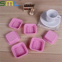 Wholesale Square Soap Mold Silicone Cake Moulds quot HAND MADE quot Cupcake DIY Tools SML012