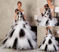 Reference Images One-Shoulder Tulle Charming One Shoulder Lace-up Short Sleeve Wedding gowns Floor Length Net Tulle Lace Black & White red prom Dresses