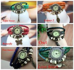 Promotion Mix Leather leaf butterfly owl wing Watch Weave Wrap Around Retro Bracelet Lady Wrist Watch mix styles etc woman watch