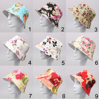 Wholesale Kinds Tops For Men - Hot new sale 36 designs stock for choose men ladies all kinds beautiful flower pattern sun hat canvas material