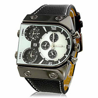 Wholesale Hot Item High Quality Men s Luxury Fashion Casual Oversize Dial PU Band Multiple Time Zone Fashion Quartz Watches Water Resistant