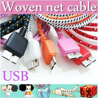 For Apple iPhone   1000XX 1m 3FT braided cable Flat noodle Nylon Netting Style Micro USB 3.0 to USB 3.0 charger Cable for Samsung Galaxy Note 3 N9000 AA