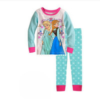 Wholesale Frozen Princess Elsa And Anna Pajamas Children Cotton Pyjamas long short Sleeve Pants Piece Suits p l