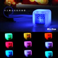 Wholesale Top quality Hot sale LED Color Change Glowing Digital Alarm Thermometer Clock