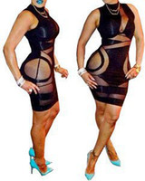 Wholesale 2014 Club Bodycon Dresses New Elastic Spandex Bandage Dress Women Ladies Hollow Out Evening Black Runway Dress