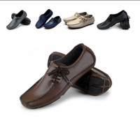 Slip-On beige moccasins - New Mens Leather Driving Casual Shoes Moccasins Slip On Loafers Flats Sneakers