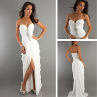 Wholesale Sexy Sweetheart Beading High Low White Prom Dresses Long vestido de festa formal Evening Party Gowns Elegant