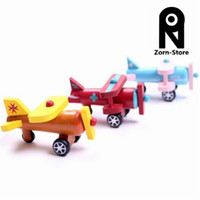 Multicolor model airplane - Zorn Store Series of twelve models wooden airplane toy model aircraft movable children s educational toys