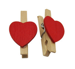 """Wholesale Freeshipping Natural Wood 1.2"""" Small Clothespins with Spring and Red Heart-shaped Pack of 100"""