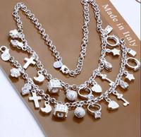 Wholesale Fashion Silver Jewelry Charms Pendant Lovely Ladies Necklace Bracelet Set quot quot Hot European Style Fashion