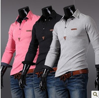 Men Cotton Polo Occident British Fashion Men Slim T-shirts Turn-down Collar Long Sleeve Polo Shirts 3 Colors 4 Size