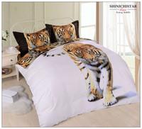 Wholesale 4pcs set cotton tiger printed duvet cover set