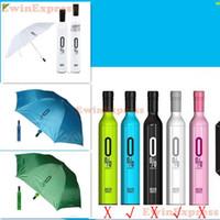 wine bottle umbrella - New design Bottle Umbrella Red Wine Bottle Umbrella Outdoor Folding Sunshade rain Umbrella parasol White Blue high quality