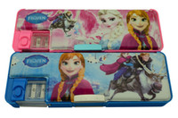 Wholesale Frozen double faced stationery case Princess Stationery Box with Pencil Sharpener Plastic Stationery Box Cartoon pencil box