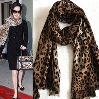 Wholesale Wool cashmere leopard print scarf plus size cape fashion thermal