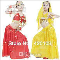 Belly Dancing belly dancing suits - Brand New Fashion set kids suit children Belly stage wear child Indian dance peformance costume top pant