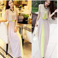 Wholesale 2014 Summer New fashion Women s Elegant Long Maxi Bohemian dress O neck Sleeveless False two pieces Long Chiffon dresses Free Drop shipping