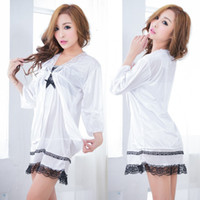 Wholesale Pure white princess dress nightgown can Ailei Si side Sexy Temptation Nightdress dress Bathrobes Pajamas Lingerie a343