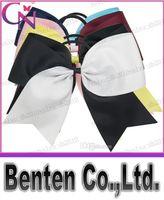 Polyester  cheer bow holder - LLFA4869 Handmade quot Baby Ponytail Holder Jumbo Cheer Bow Larger Two Tons Hair Bow For Cheerleader Girls