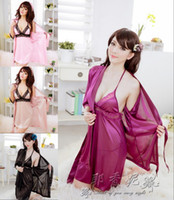 Wholesale Ice silk dress sexy lingerie set Sexy Temptation Nightdress dress Bathrobes Pajamas Lingerie G string a350