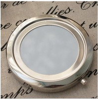 Wholesale Silver Compact Mirrors DIY Portable Metal Makeup Mirror X Magnifying
