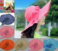 Wholesale DHL Hawaii Beach Cap Wide Large Floppy Brim Summer Beach Sun Straw Beach Derby Hat Cap Packable Flexible Sun hat Holiday hat