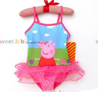 Girl One-piece 92-98,104-110,116-122,128-134 Retail 2014 New Summer Peppa Pig Girls Swimwear Cartoon Polka Dots One Piece Swimsuit Bathers Children Swimming Costume Bath Swimwear Melee