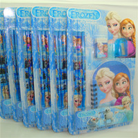 Wholesale EMS Frozen stationery set Princess Elsa Anna Stationery Pencil Eraser Sharpener Notebook Writing Set Cartoon