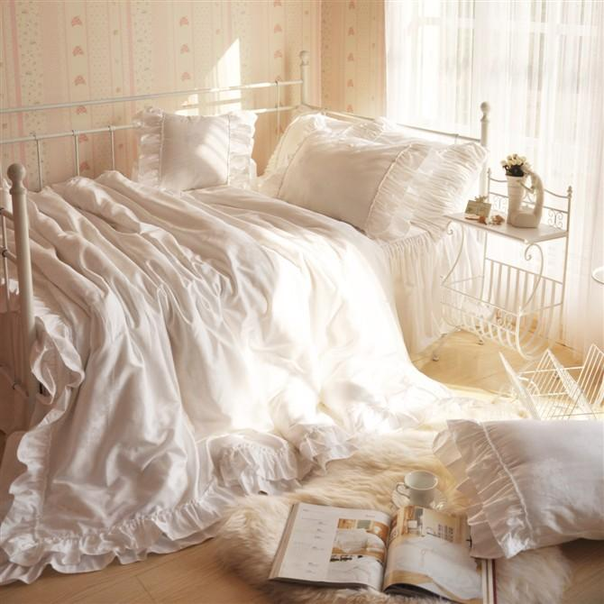 Korean Bedding White Duvet Covers Home Romantic Ruffle