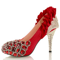 Cheap New Style Fashion 2013 Womens Silver Red Gold Glitter Flower Crystal Wedding Evening Prom Dress Metallic HIgh Heels Shoe Red