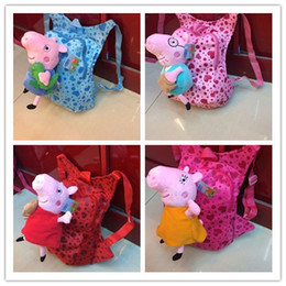 Wholesale 2014 Peppa Pig George Mama Papa Pig Plush D Children Backpack Children s School Bags Cartoon Boys Girls Schoolbag Pre School Bag
