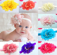Wholesale Hot Baby Girl s Chiffon Rose Pearl Headband Color Children Hair Accessories Kids Hair Jewelry CM Elastic Headband Mix Order