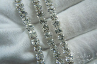 Wholesale Hot Clear Crystal Rhinestone Close Chain Trims Silver Meter