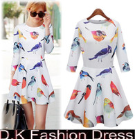 Casual Dresses Round Mini 2015 Latest European Spring Fashion Brand Sexy Bird Printed Dresses New 2014 Summer women clothing Slim Casual Mini sexy Dress dk7001