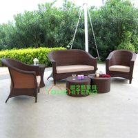 Foshan quiet Teng Furniture Plastic Outdoor Bamboo rattan outdoor furniture garden sofa rattan sofa set imitation of Chinese leisure sofa combination