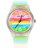 Cheap 6018 Round Shaped Silver Watch Dial Colorful Rainbow Plastic Cement Watchband Women's and Kid's Wrist Watch