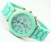 Round band mint - 2014 Newest Mint green GENEVA Brand New Soft Gold Case Silicone Band Quartz Unisex Women Gift Watch Colors