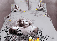 100% Cotton Woven Twill 3D Marilyn Monroe butterfly grey bedding comforter set sets queen size bedspread duvet cover sheets bed in a bag sheet cottons bed in a bag