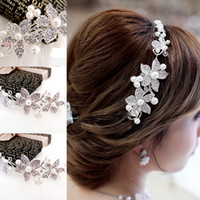 Wholesale 2015 Real new Wedding Tiara Headwear of Bride Headdress Rhinestone amp Pearl Elegant Hair Charming Accessory Jewelry