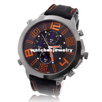 big mark - 2014 New Big Dail Vogue V6 Bubber Band Marks Hour Mark steel Analog Mens Military Casual Watches EW402