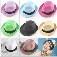 Wholesale EMS Mulit color sun hat Men and Women s Hat Fashion Jazz caps lovers Straw hat Beach hats Summer hot
