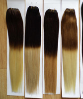 """18"""" 20"""" 100g pc two toned ombre hair weaves weft ex..."""