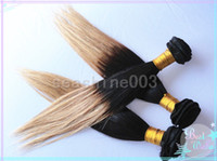 Malaysian Hair Straight 100% Human remy hair Hot Sale 100% Malaysian Virgin Human Hair Weft Remy Straight Hair Ombre Hair 2Tone Color #1b 27 3pcs lot DHL Free Shipping AAAAA Grade