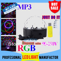 2014 Lucky Star RVB MP3 Magic Crystal LED Ball Musique stade lumière 18W Accueil Disco Party DJ Party étape Eclairage + Télécommande U disque