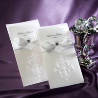 Wholesale Folded wedding invitation Ribbon Bow Party Favor