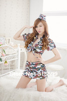 Wholesale lingerie Sexy Sunny Girl School Costumes Colorful Camouflage Short Shirt Skirt Suit Dropship US1607A